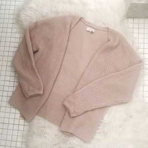 LUCKY Oversized Blush Colored Cable Knit Cardigan